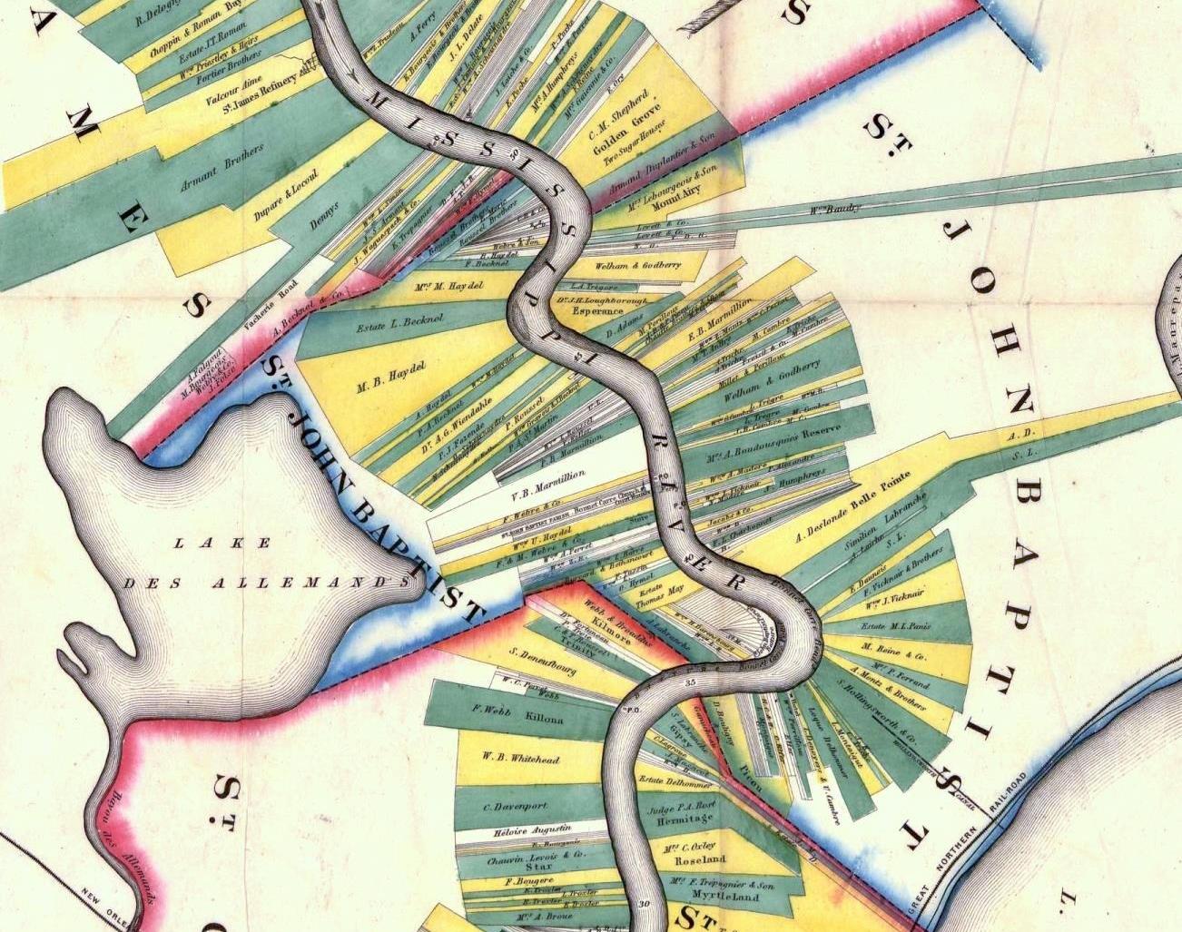 Map Of Louisiana Plantations.St John The Baptist Parish Louisiana Maps